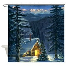 Christmas Snow Landscape Shower Curtain