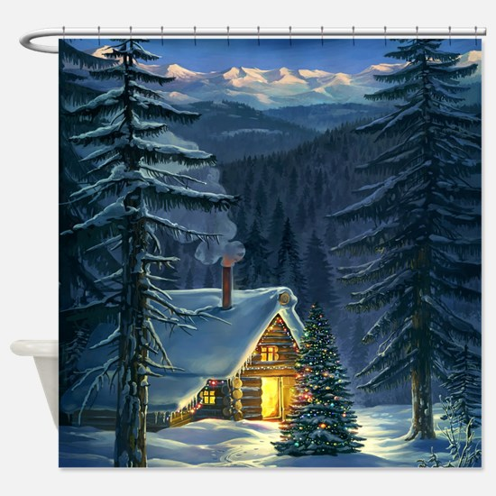 Christmas Snow Landscape Shower Curtain