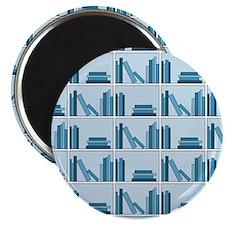 Books on Bookshelf, Blue. Magnet