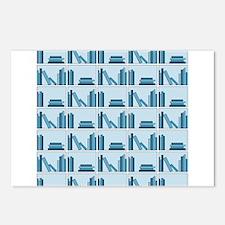 Books on Bookshelf, Blue. Postcards (Package of 8)