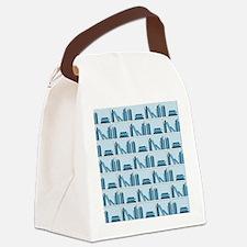 Books on Bookshelf, Blue. Canvas Lunch Bag