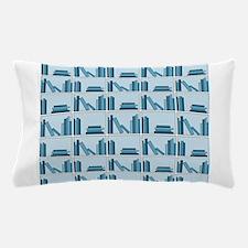 Books on Bookshelf, Blue. Pillow Case