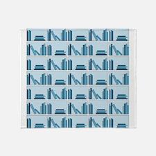 Books on Bookshelf, Blue. Throw Blanket