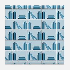 Books on Bookshelf, Blue. Tile Coaster