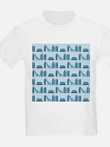Books on Bookshelf, Blue. T-Shirt