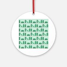 Books on Bookshelf, Green. Ornament (Round)