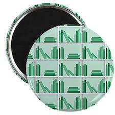 Books on Bookshelf, Green. Magnet