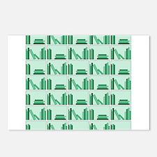 Books on Bookshelf, Green. Postcards (Package of 8