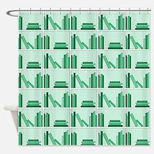 Books on Bookshelf, Green. Shower Curtain