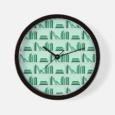 Books on Bookshelf, Green. Wall Clock