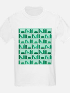 Books on Bookshelf, Green. T-Shirt