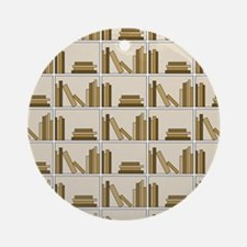 Books on Bookshelf, Beige. Ornament (Round)