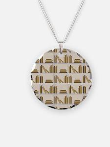 Books on Bookshelf, Beige. Necklace