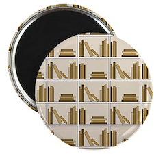 Books on Bookshelf, Beige. Magnet