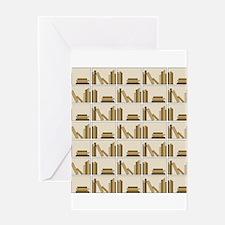 Books on Bookshelf, Beige. Greeting Card