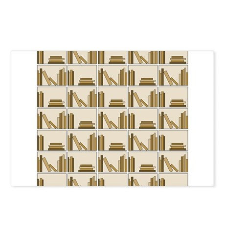 Books on Bookshelf, Beige. Postcards (Package of 8
