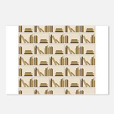 Books on Bookshelf, Beige. Postcards (Package of 8