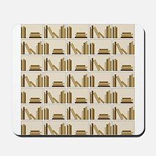 Books on Bookshelf, Beige. Mousepad