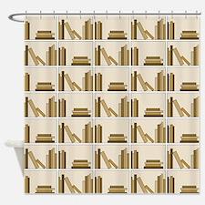 Books on Bookshelf, Beige. Shower Curtain