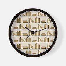 Books on Bookshelf, Beige. Wall Clock
