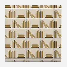 Books on Bookshelf, Beige. Tile Coaster
