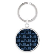 Books on Bookshelf, Blue. Round Keychain