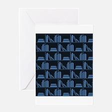 Books on Bookshelf, Blue. Greeting Card