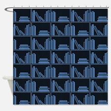 Books on Bookshelf, Blue. Shower Curtain