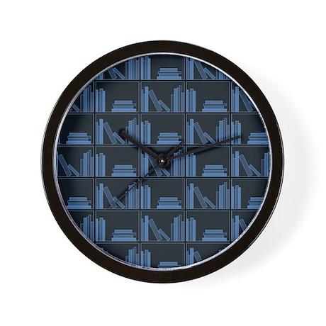 Books on Bookshelf, Blue. Wall Clock