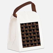 Books on Bookshelf. Canvas Lunch Bag