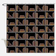 Books on Bookshelf. Shower Curtain