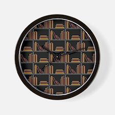 Books on Bookshelf. Wall Clock