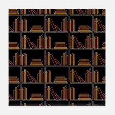 Books on Bookshelf. Tile Coaster