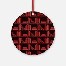 Books on Bookshelf, Dark Red. Ornament (Round)