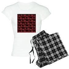 Books on Bookshelf, Dark Red. Pajamas