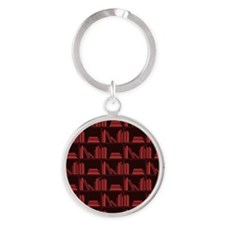 Books on Bookshelf, Dark Red. Round Keychain