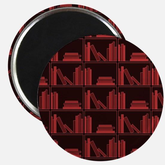 Books on Bookshelf, Dark Red. Magnet