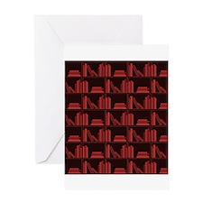 Books on Bookshelf, Dark Red. Greeting Card