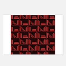 Books on Bookshelf, Dark Red. Postcards (Package o