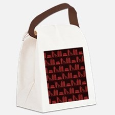 Books on Bookshelf, Dark Red. Canvas Lunch Bag