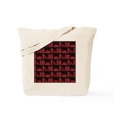Books on Bookshelf, Dark Red. Tote Bag