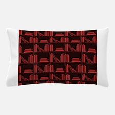 Books on Bookshelf, Dark Red. Pillow Case
