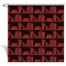 Books on Bookshelf, Dark Red. Shower Curtain