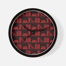 Books on Bookshelf, Dark Red. Wall Clock