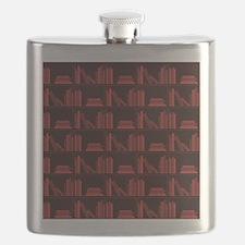 Books on Bookshelf, Dark Red. Flask