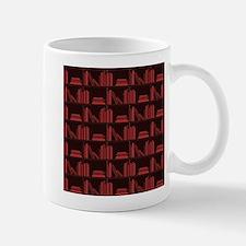 Books on Bookshelf, Dark Red. Mug