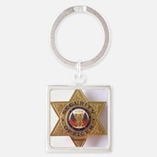 Security7StarBadge.jpg Square Keychain