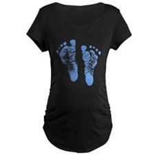 Baby Boy Footprints Maternity T-Shirt