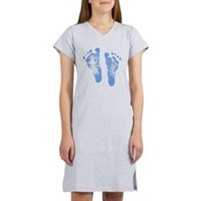 Baby Boy Footprints Women's Nightshirt