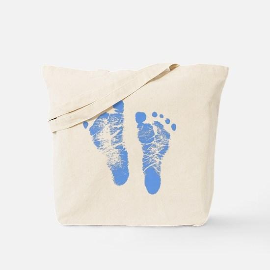 Baby Boy Footprints Tote Bag